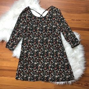 Floral 3/4 sleeve mini dress